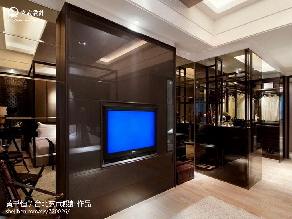 中式风格家庭装修嵌入式电视背景墙图片