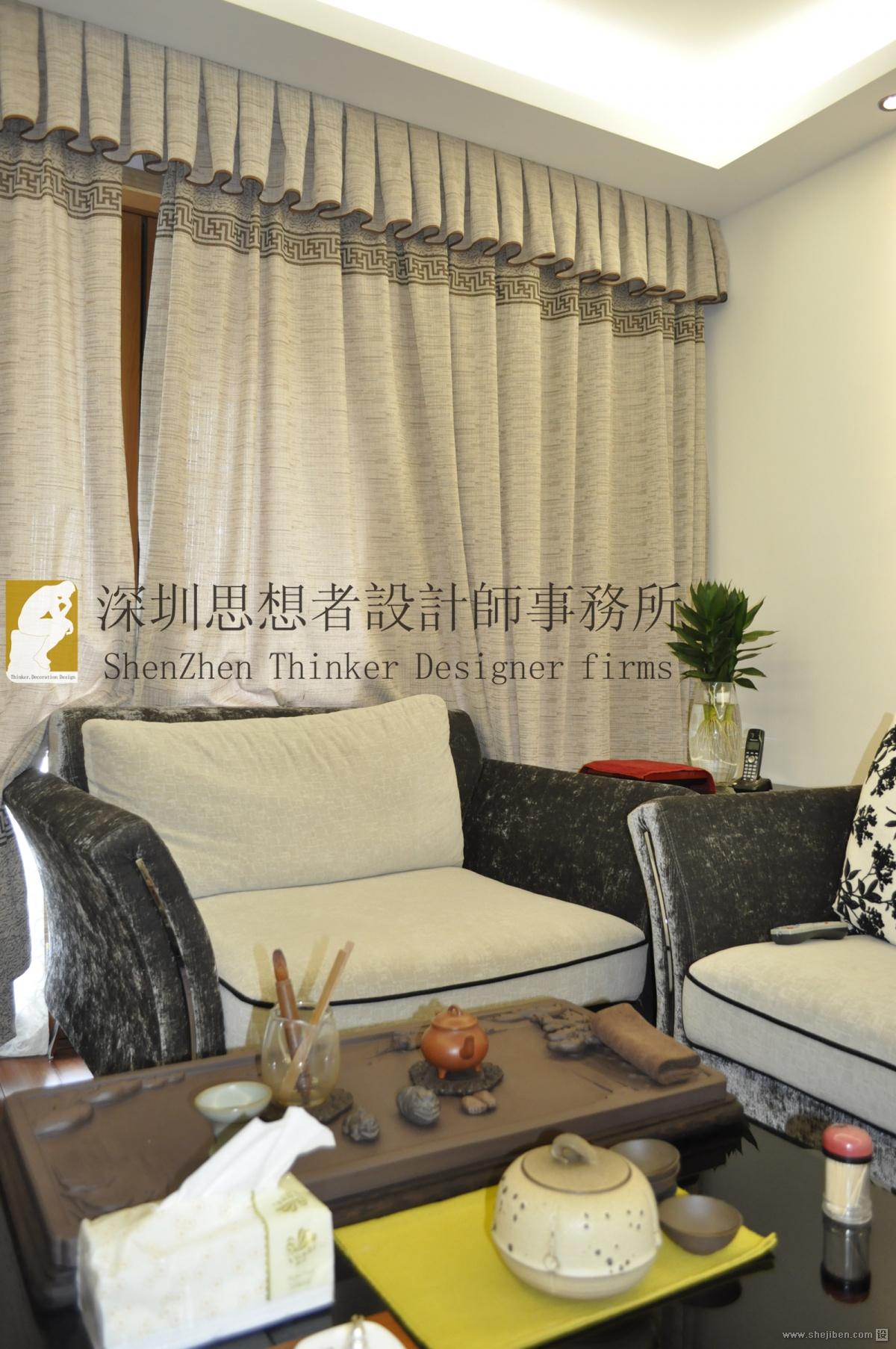 简约中式客厅窗帘效果图图片