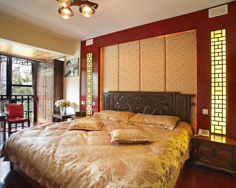 中式风格卧室床头软包背景墙装修效果图欣赏