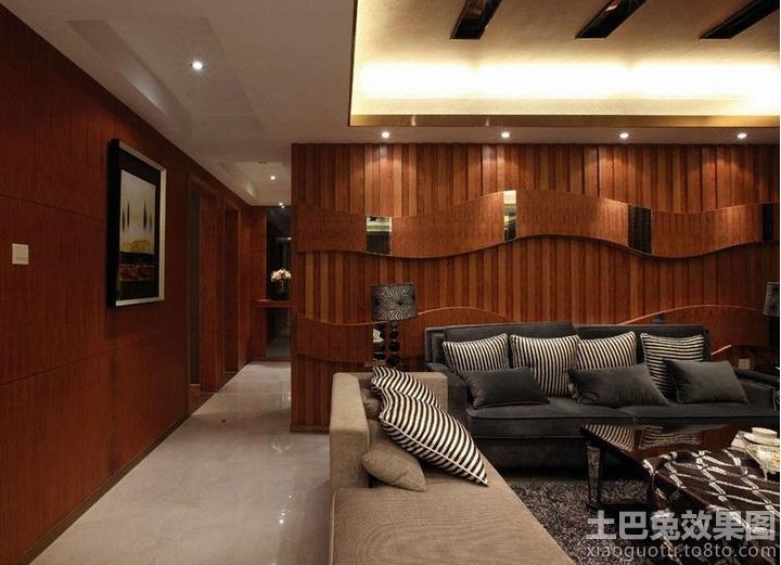 客厅沙发红木屏风背景墙装修效果图