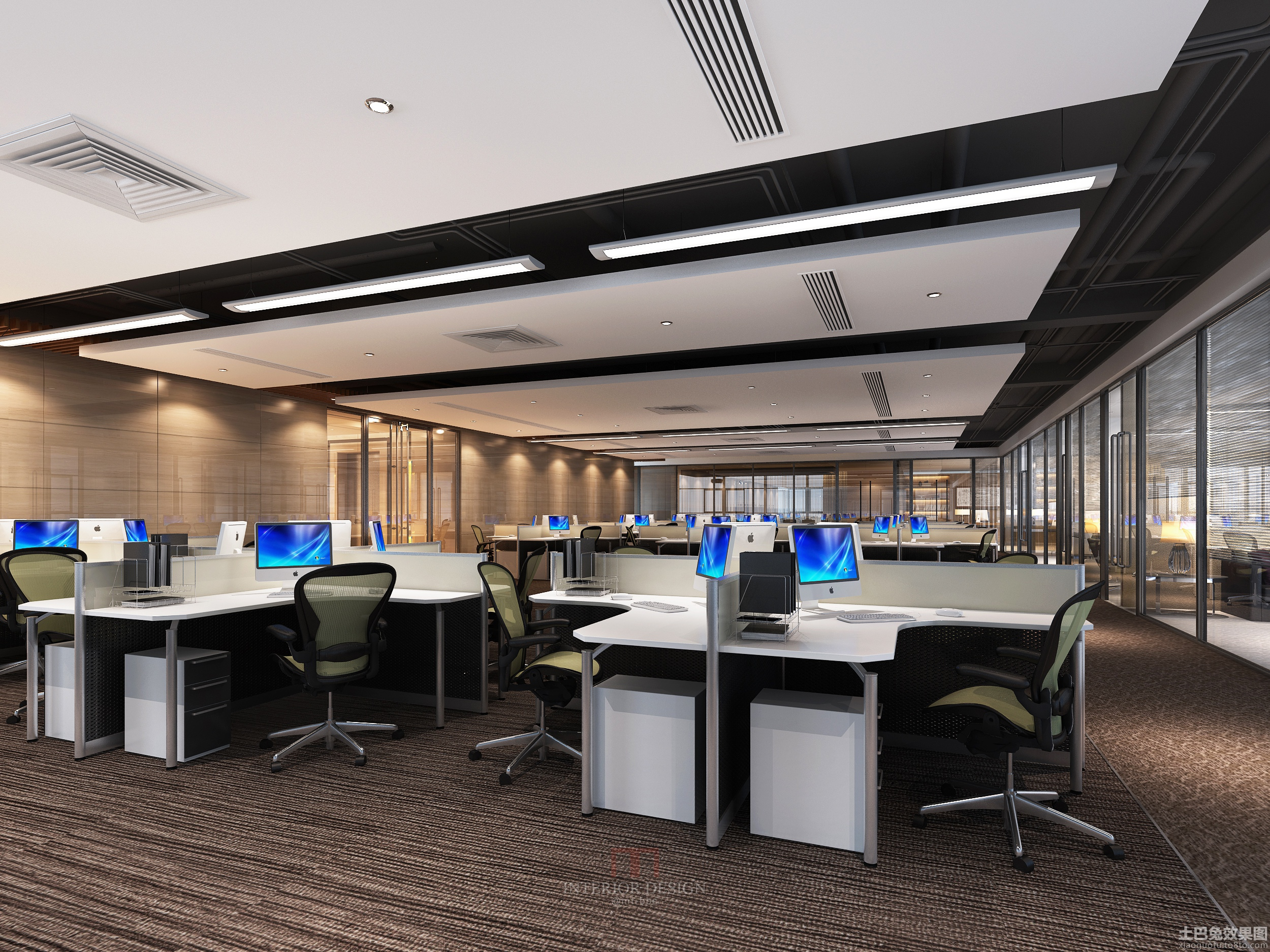 現代辦公室屏風隔斷辦公桌效果圖圖片