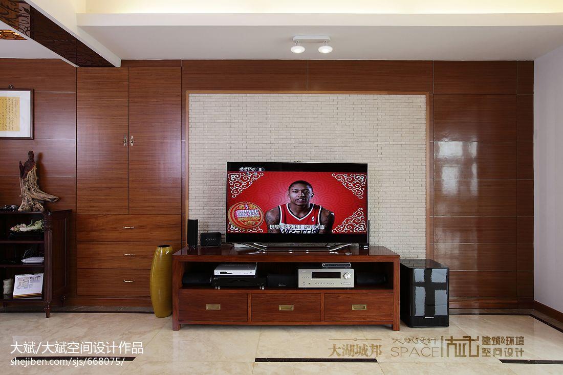 客厅电视机背景墙实木壁柜装修效果图