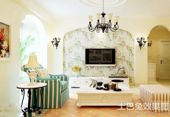 地中海风格电视机背景墙墙纸