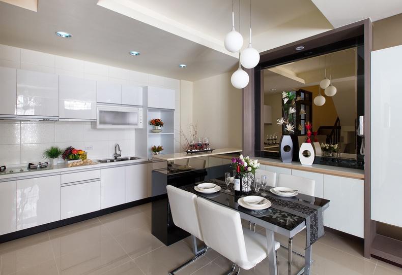 开放式厨房餐厅一体效果图