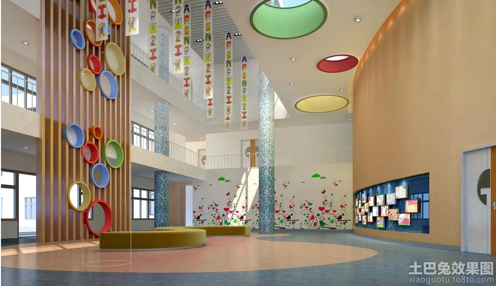 幼儿园室内设计大厅效果图