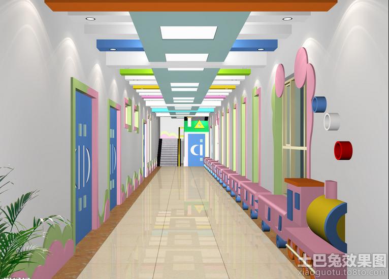 幼儿园室内设计走廊效果图