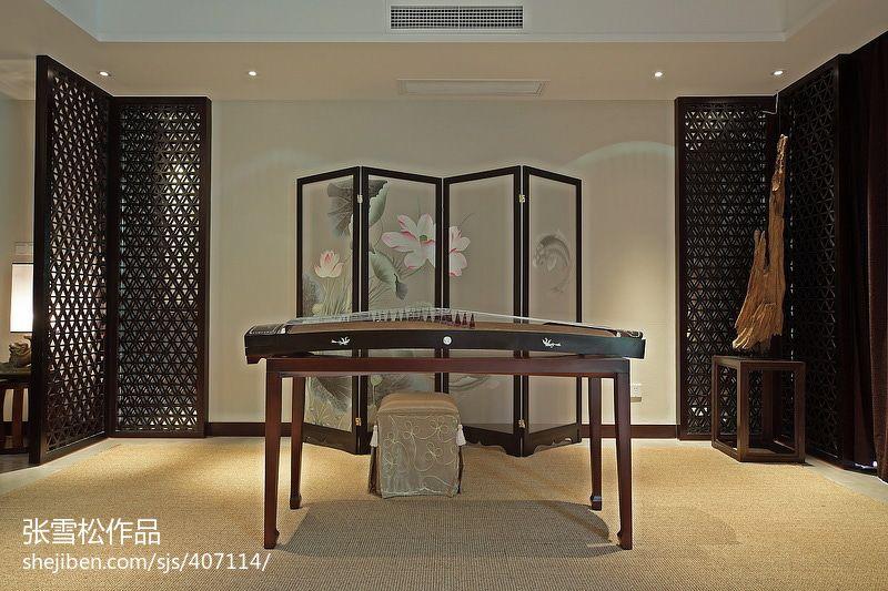 中式别墅休闲区古筝图片图片