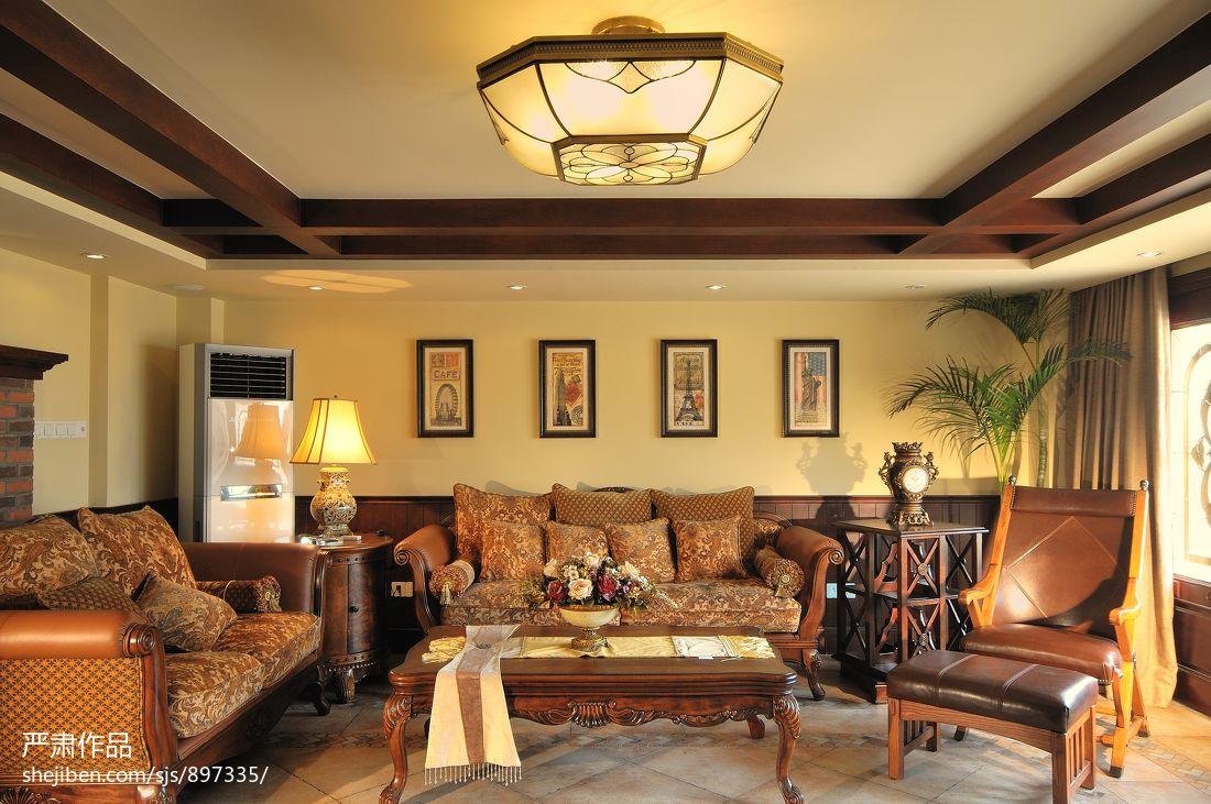 美式风格别墅客厅吊顶效果图高清图片