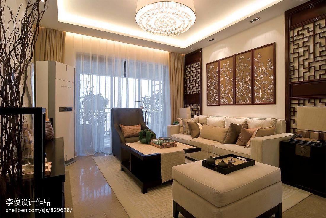 裝修效果圖 > 中式風格客廳布藝沙發背景墻設計圖片大全
