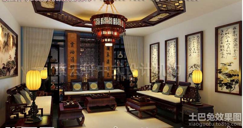 中式茶馆包间装修效果图高清图片