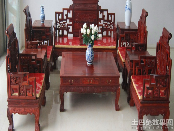 中式古典实木沙发图片 - 装修效果图 - 九正家居网