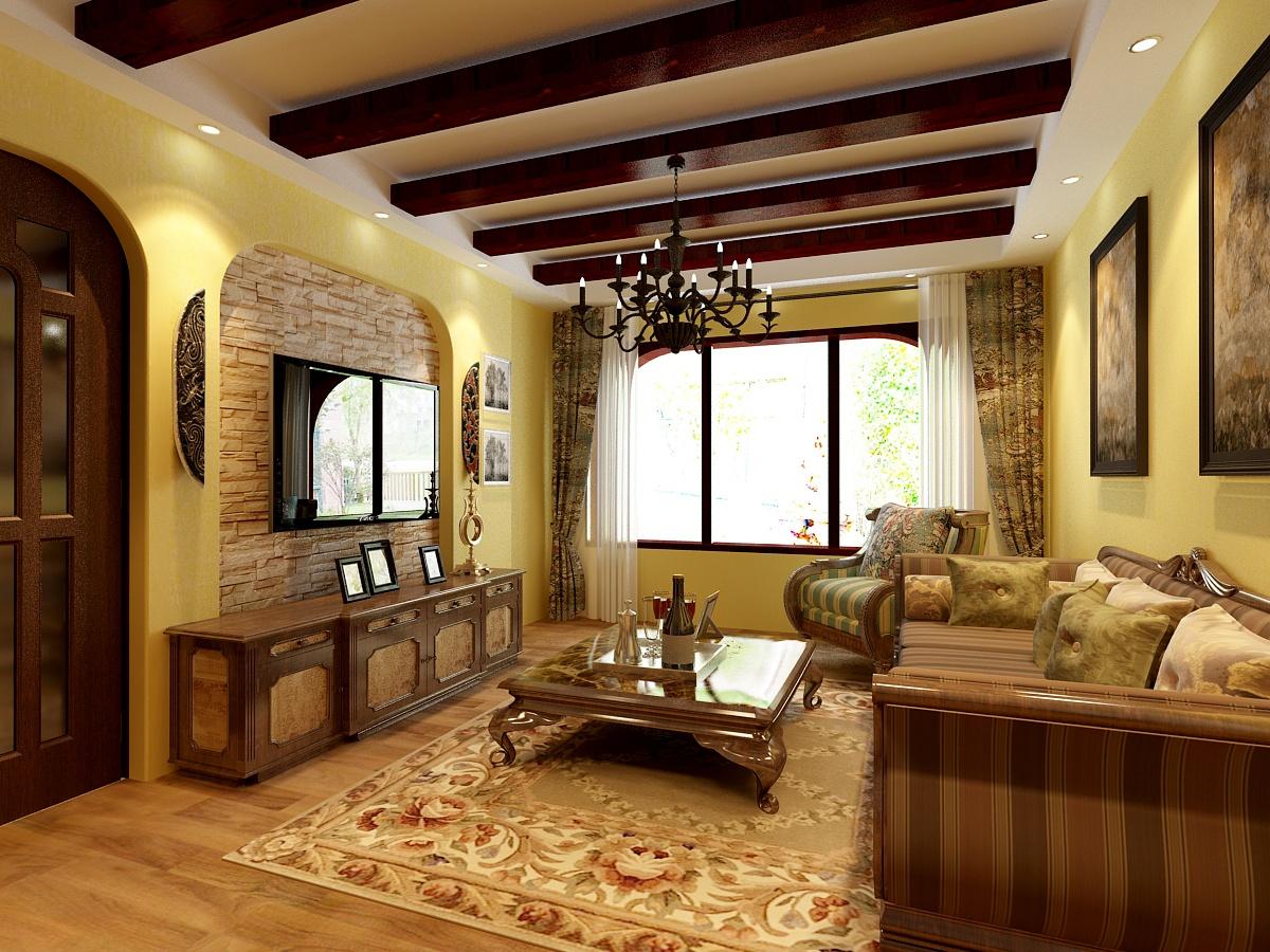 美式风格客厅电视背景墙装饰设计图