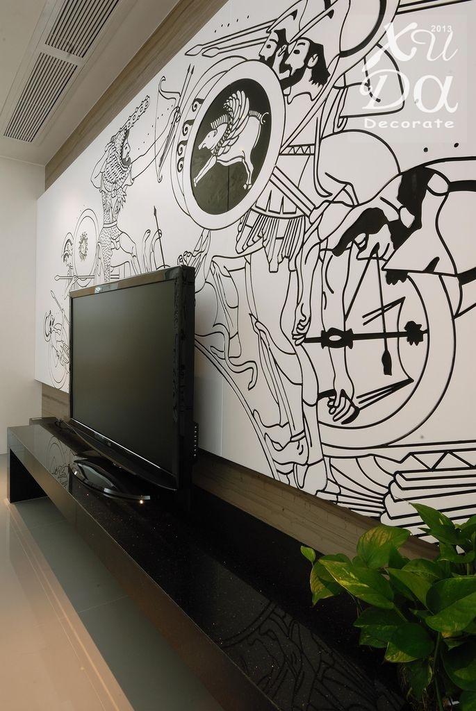 手绘电视背景墙效果图 - 装修效果图 - 九正家居网