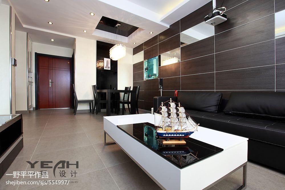 现代简约客厅餐厅吊顶设计图片