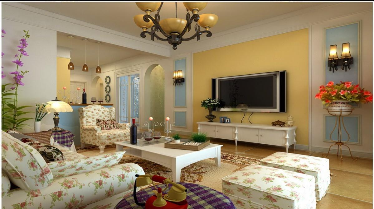 欧式田园风格客厅装修效果图片图片