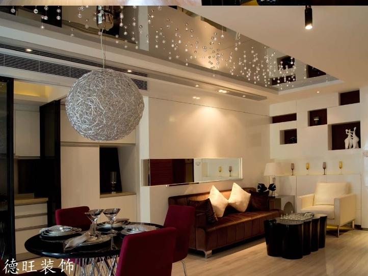 现代小户型客厅餐厅一体吊顶装修效果图