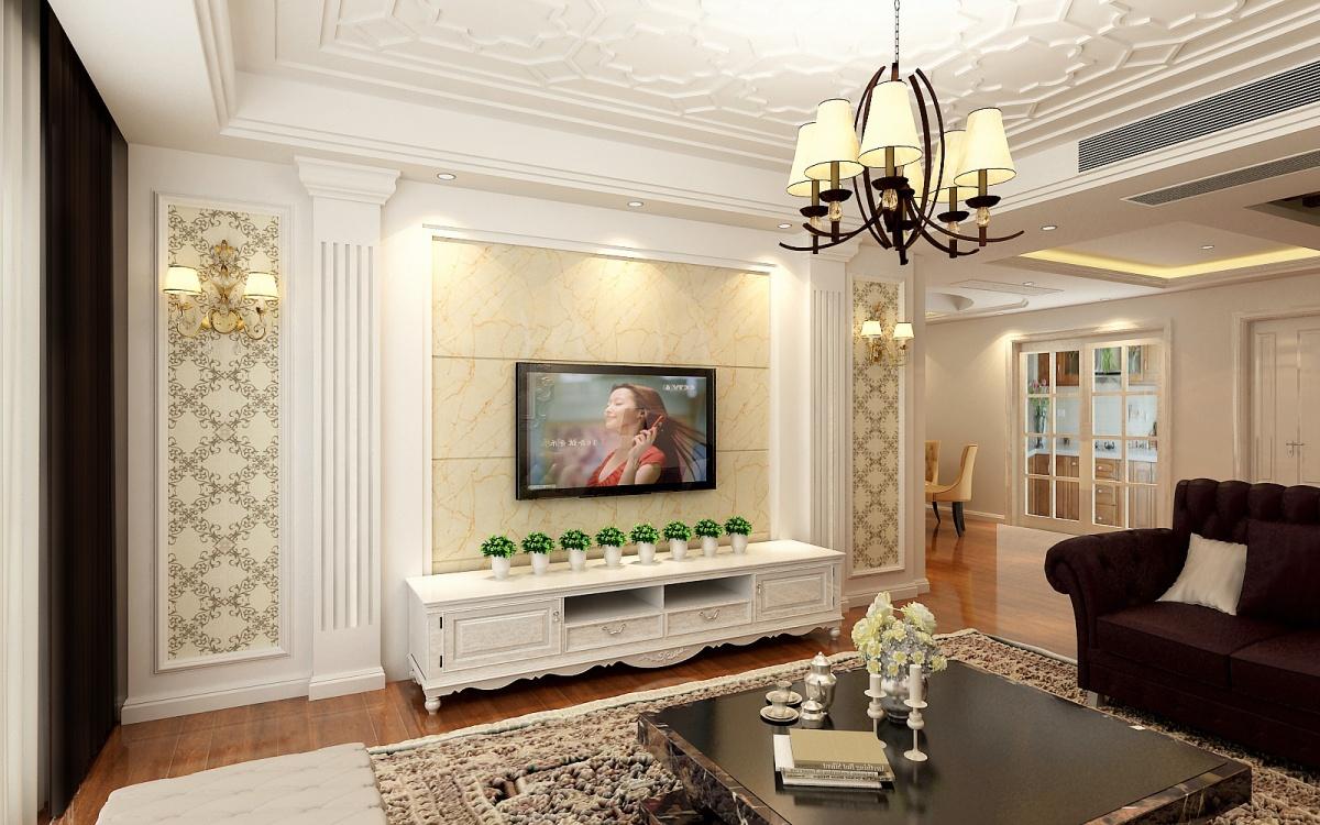 欧式一居客厅瓷砖电视墙效果图图片