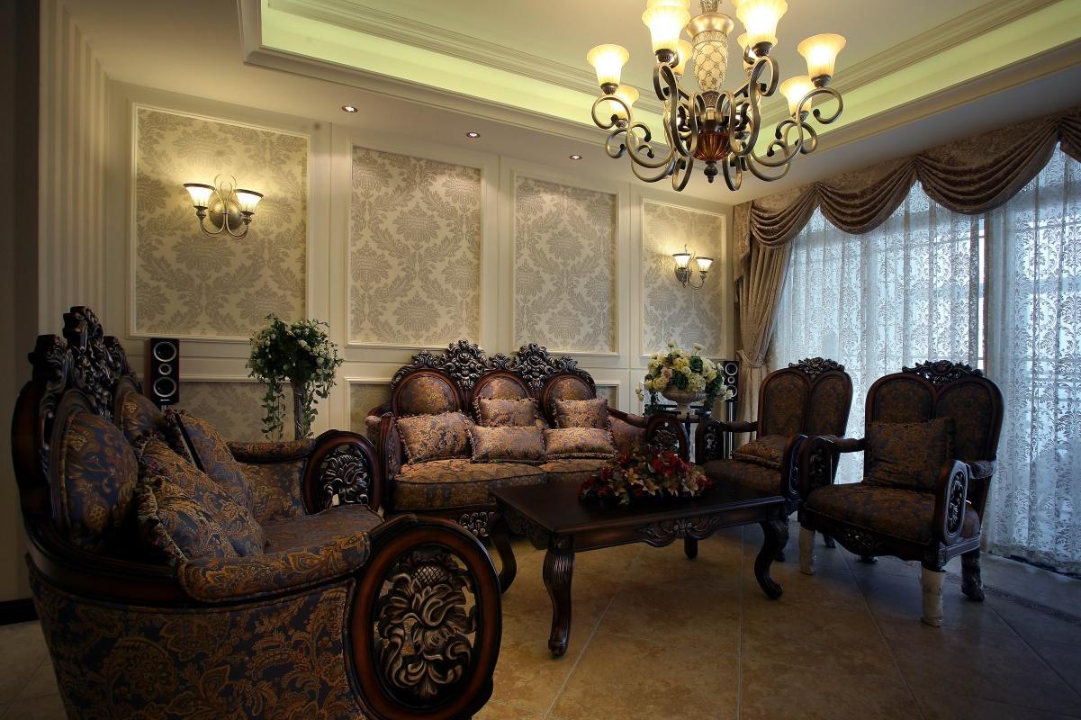 欧式风格沙发背景墙效果图图片