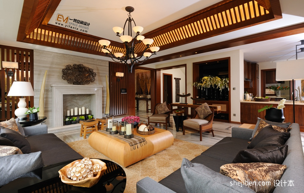 中式客厅吊顶装修效果图图片图片