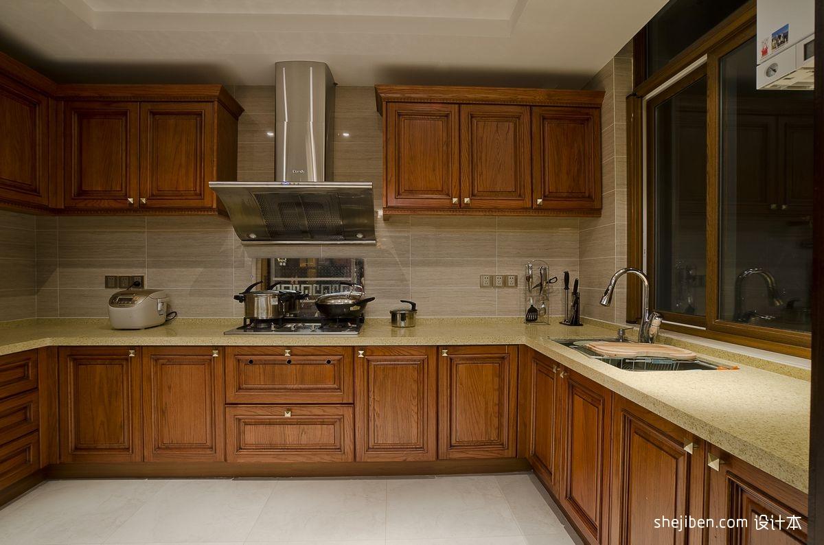 u型厨房实木橱柜效果图片