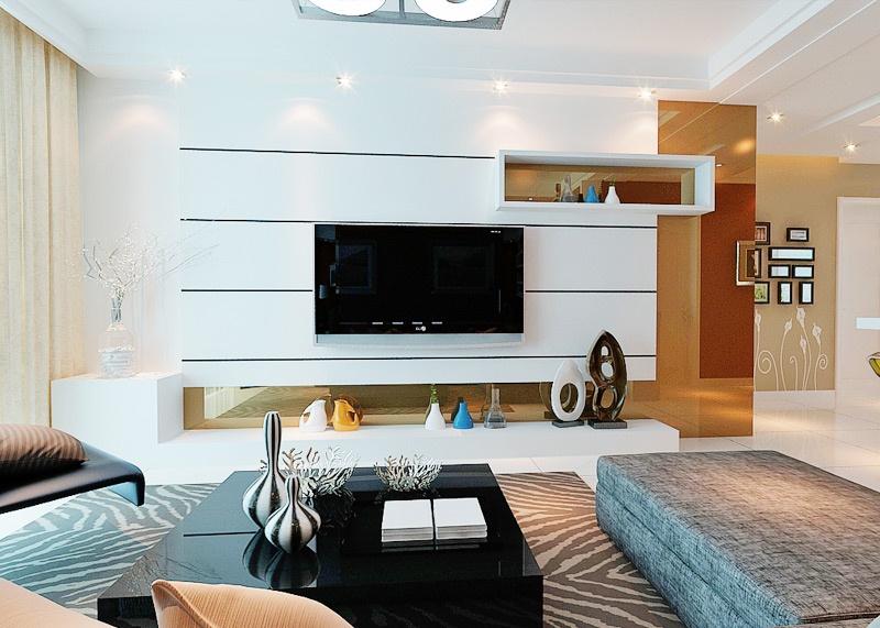 客厅白色电视背景墙装修效果图