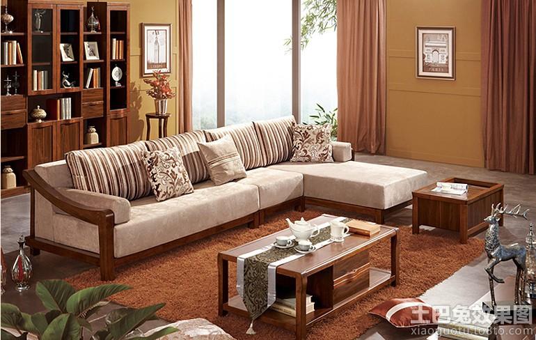 简中式客厅实木沙发图片