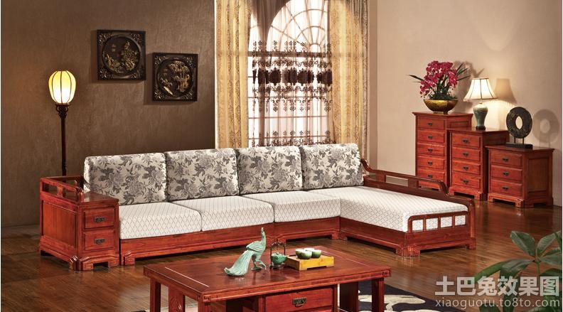 客厅中式实木布艺沙发图片