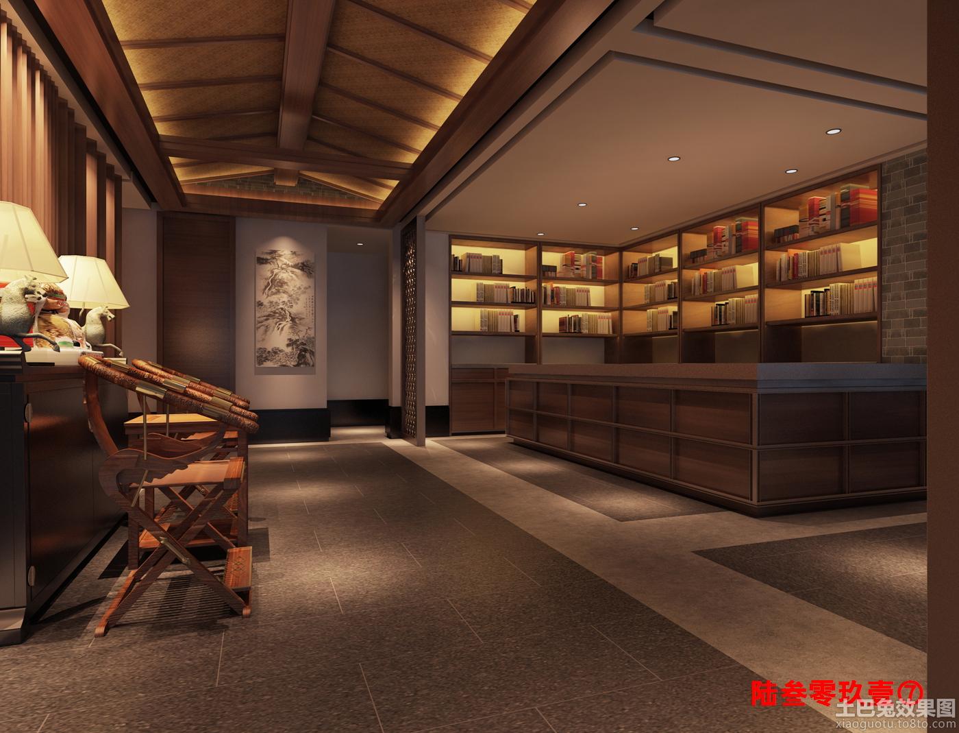 中式茶楼前台装修效果图