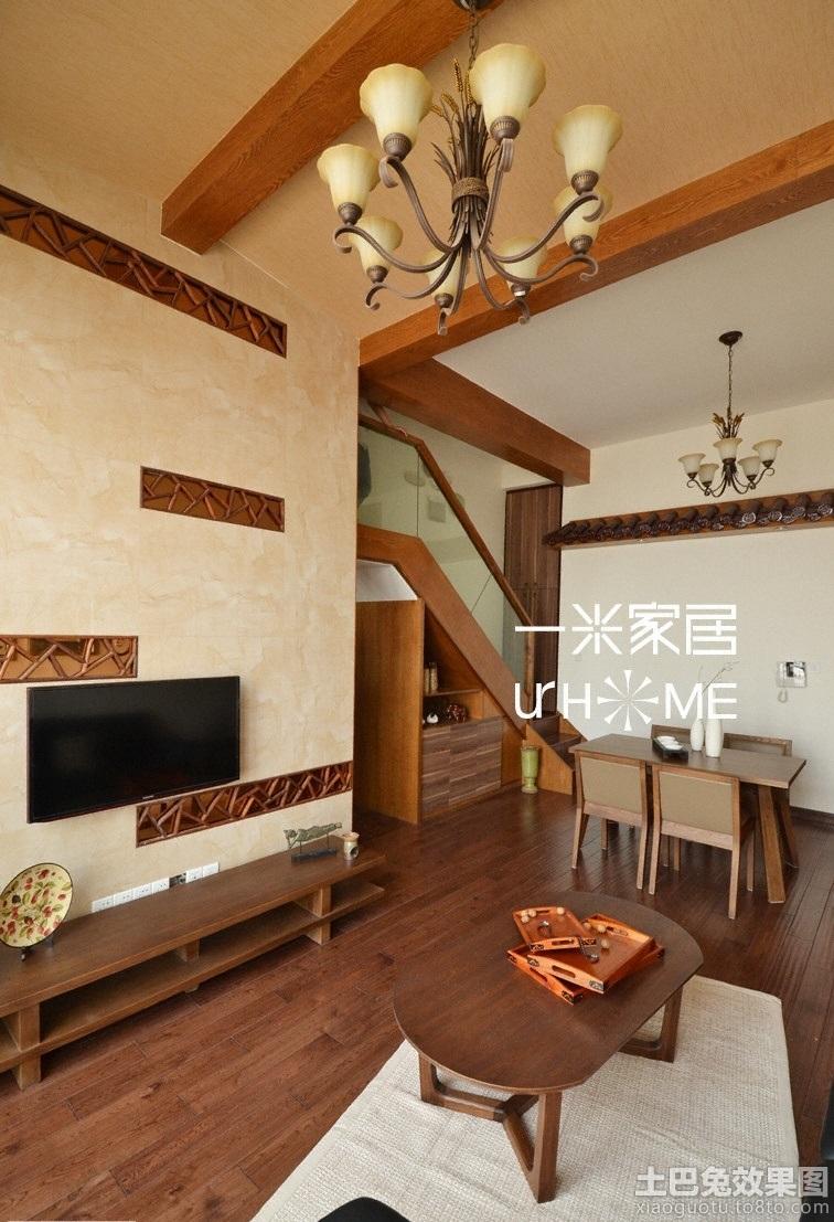 简中式复式楼装修客厅电视背景墙效果图图片