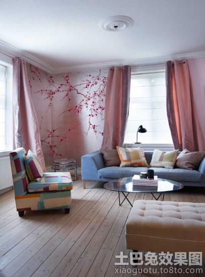 灰白北欧风格别墅客厅彩绘背景墙图片 - 装修效果图图片