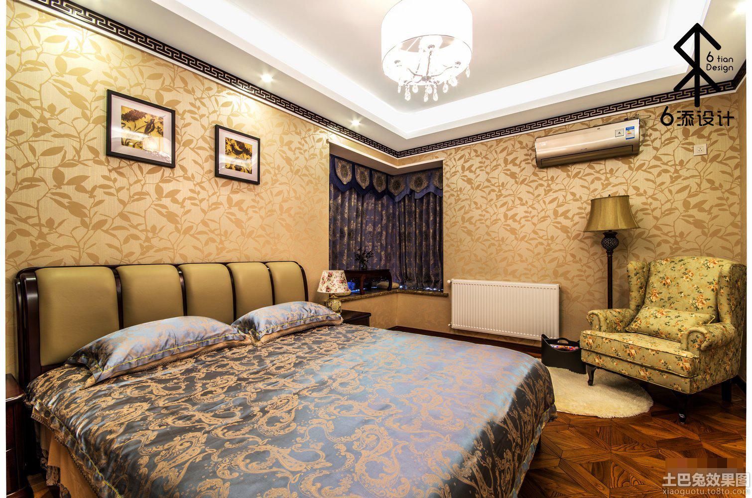 中式卧室墙纸效果图大全 - 九正家居装修效果图