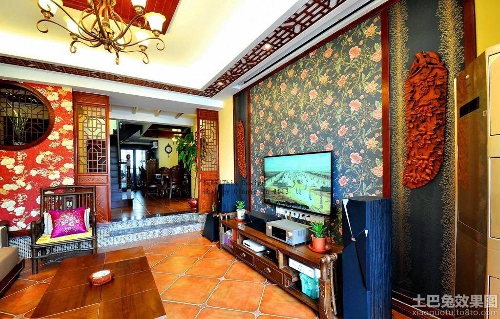 中式家装壁纸电视背景墙装修效果图