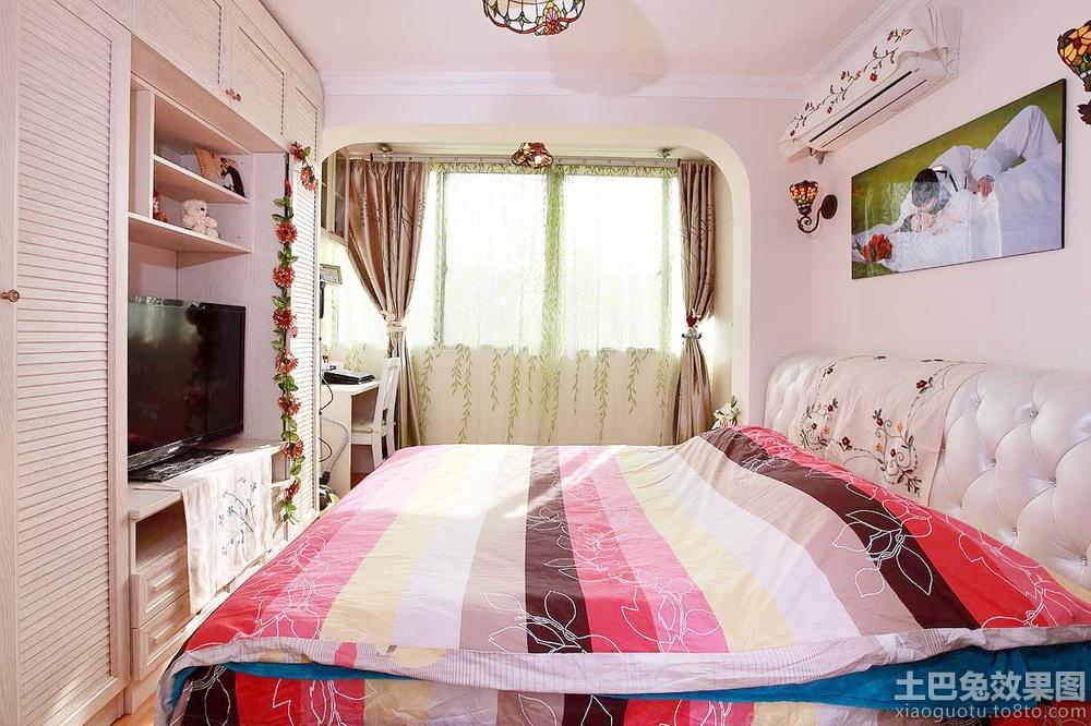 田园风格婚房卧室窗帘效果图高清图片