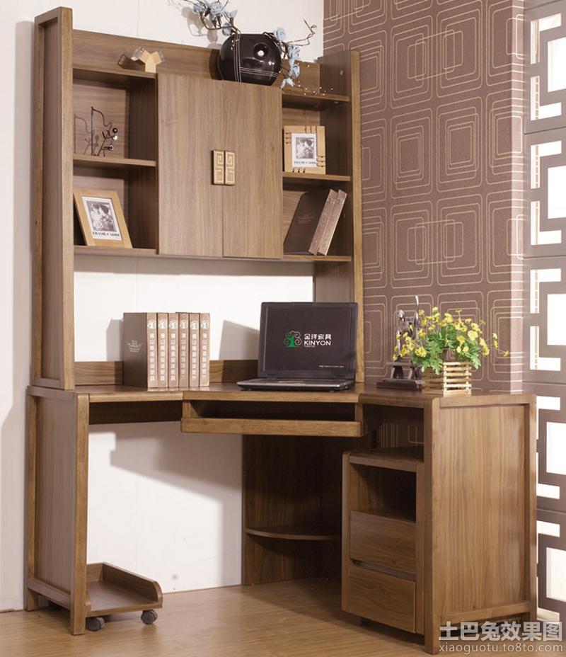 中式书柜电脑桌图片大全 - 九正家居装修效果图