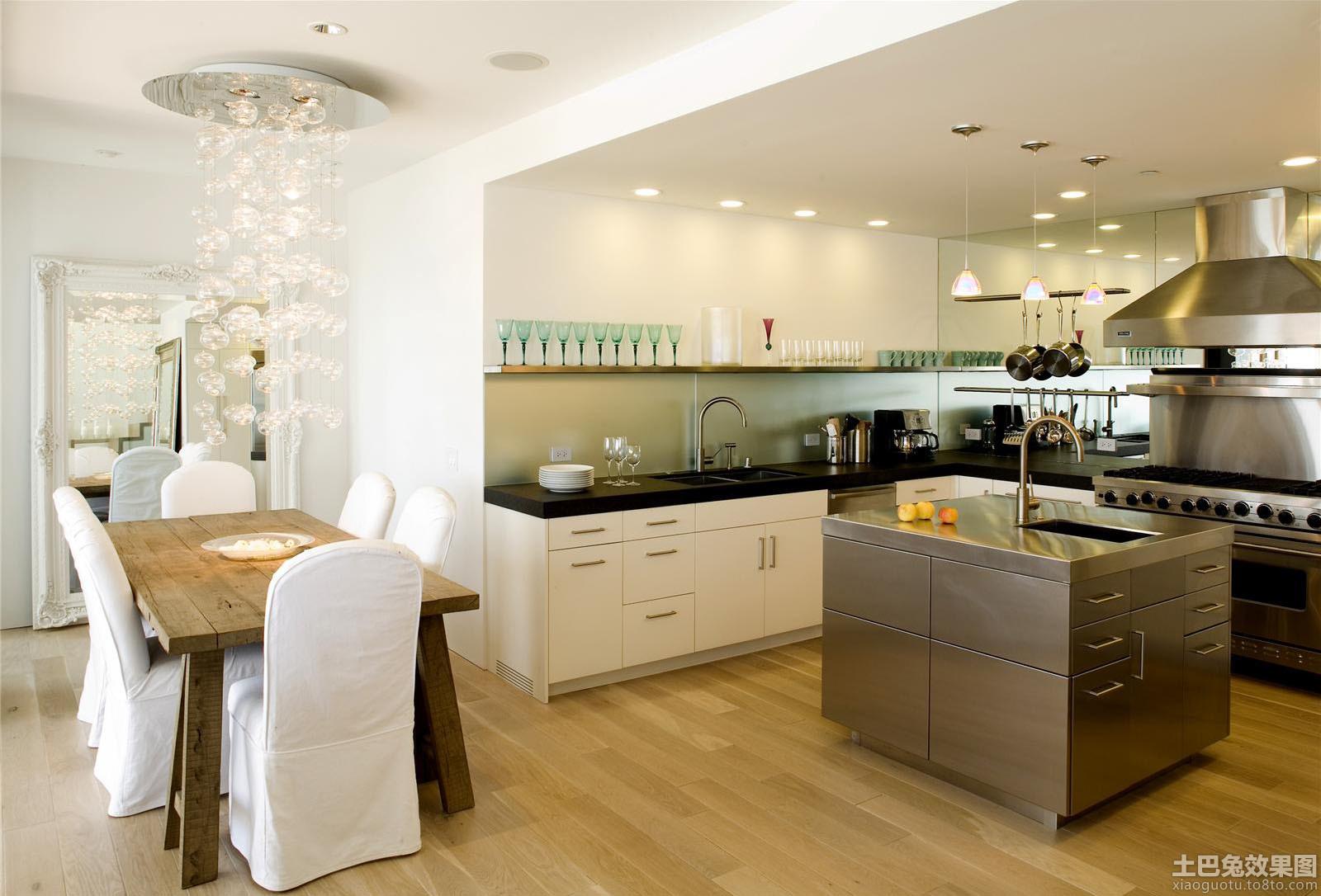开放式厨房岛台效果图