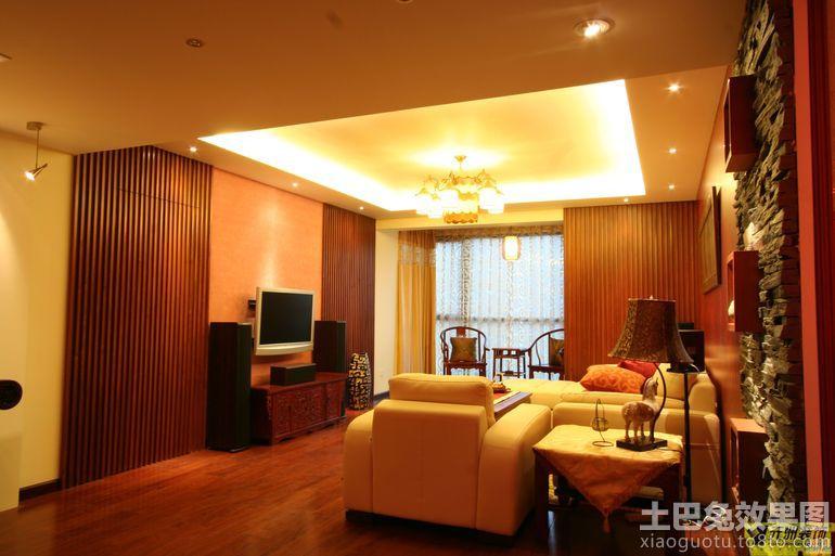 现代中式客厅吊顶灯带效果图
