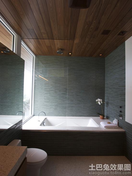 简约浴室桑拿板吊顶效果图图片