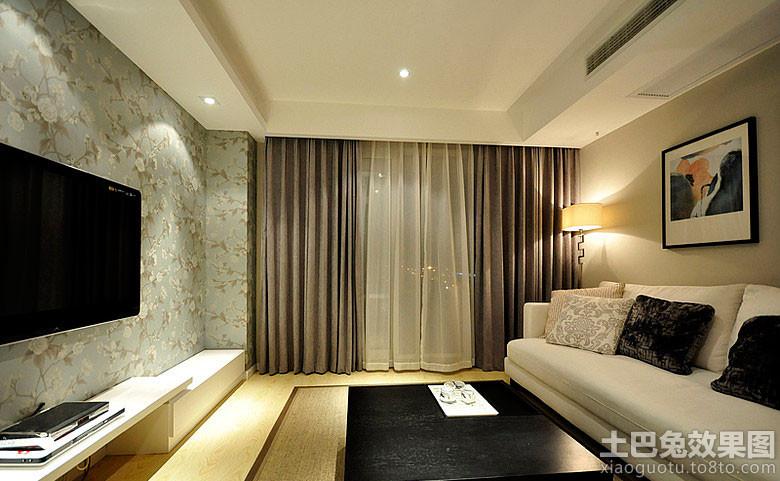 现代中式二居客厅窗帘效果图 - 九正家居装修效果图图片