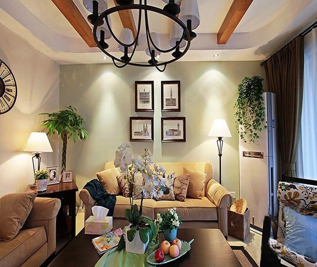 现代美式客厅沙发背景墙装修效果图图片