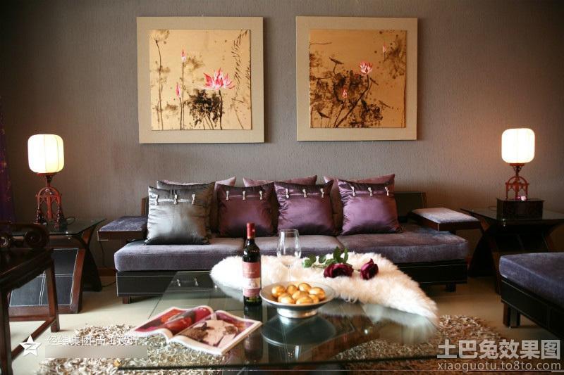 中式沙发背景墙挂画图