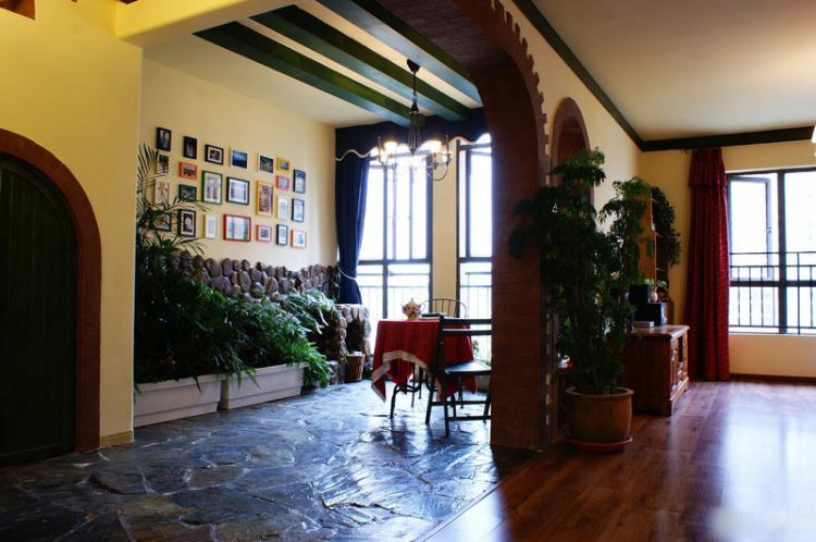 美式风格玄关拱形门隔断效果图图片