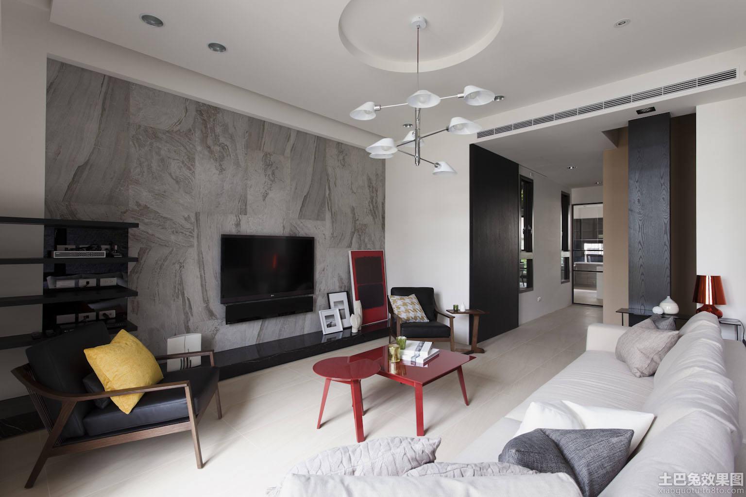 装修效果图 > 现代简约大户型客厅电视背景墙效果图