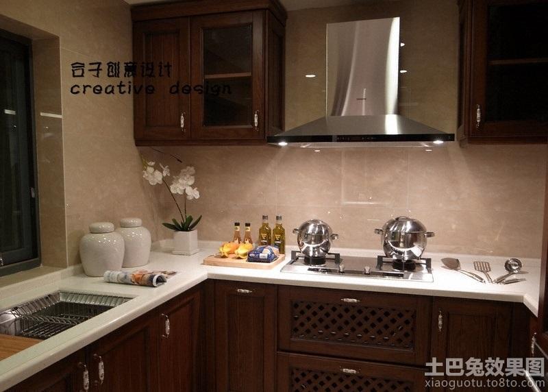 中式厨房灶台装修效果图高清图片