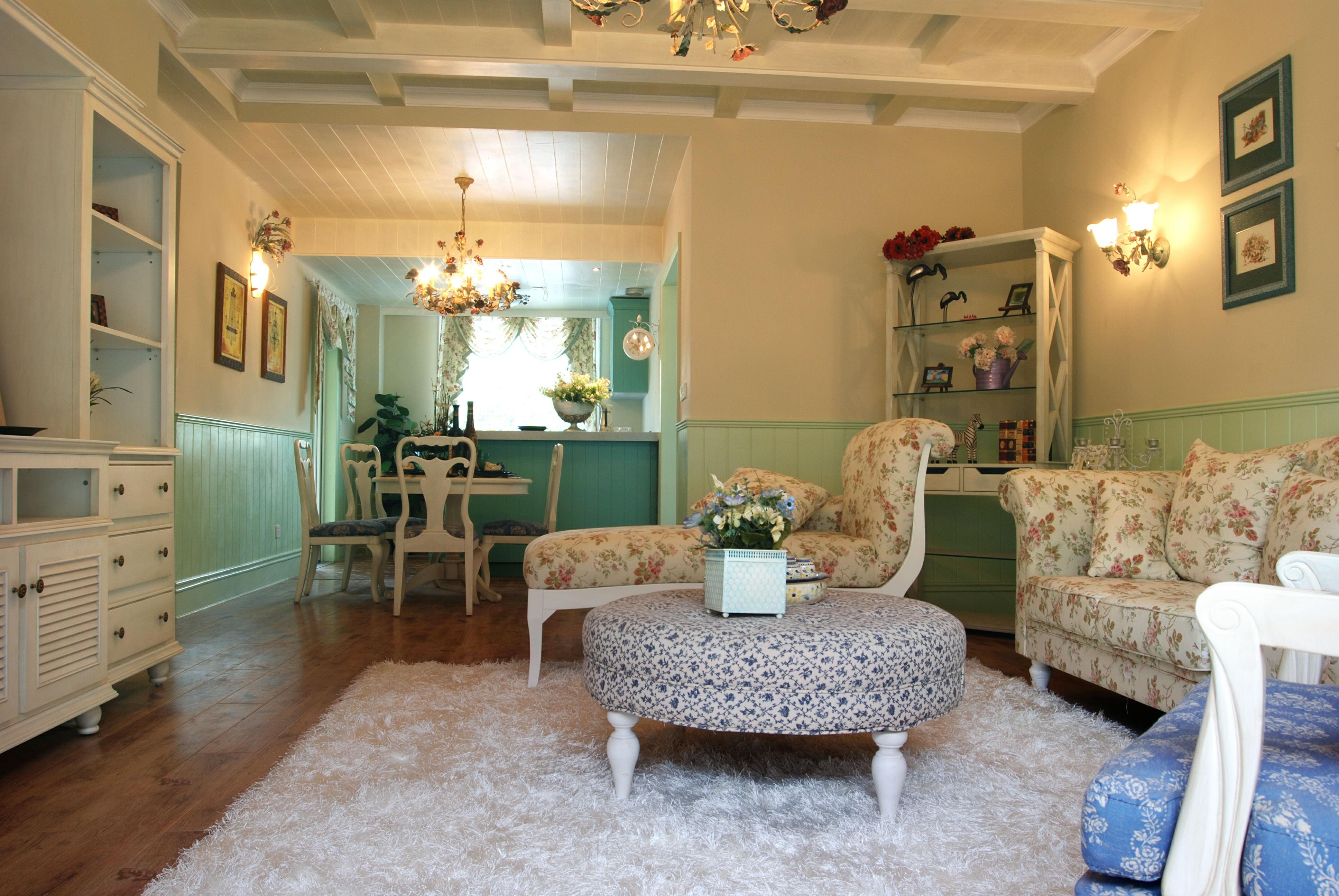 欧式田园风格客厅茶几效果图 - 九正家居装修效果图图片