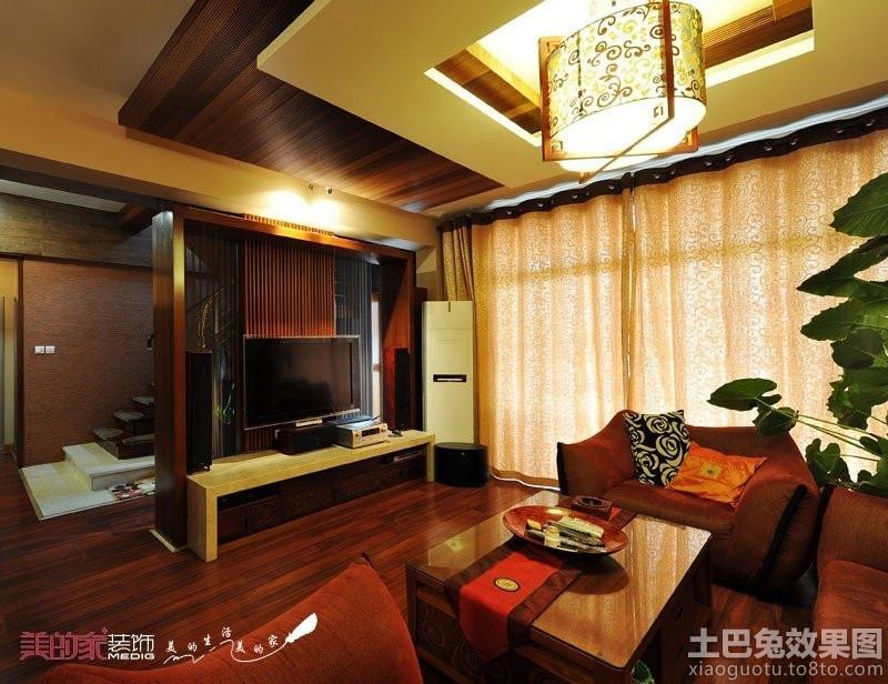 现代中式复式楼客厅电视背景墙装修效果图高清图片