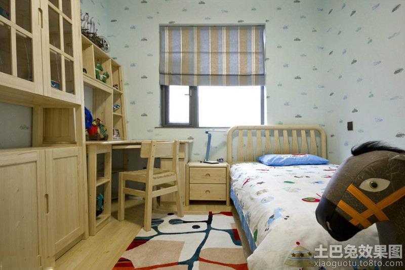 儿童房原木色家具图片