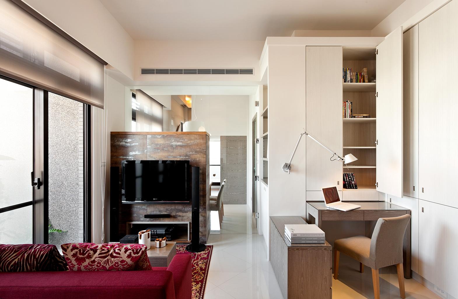简约风格50平米小户型客厅电视背景墙隔断装修效果图