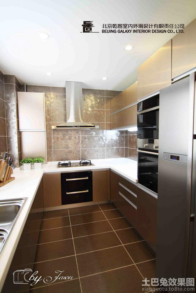 家庭u型厨房香槟色橱柜效果图