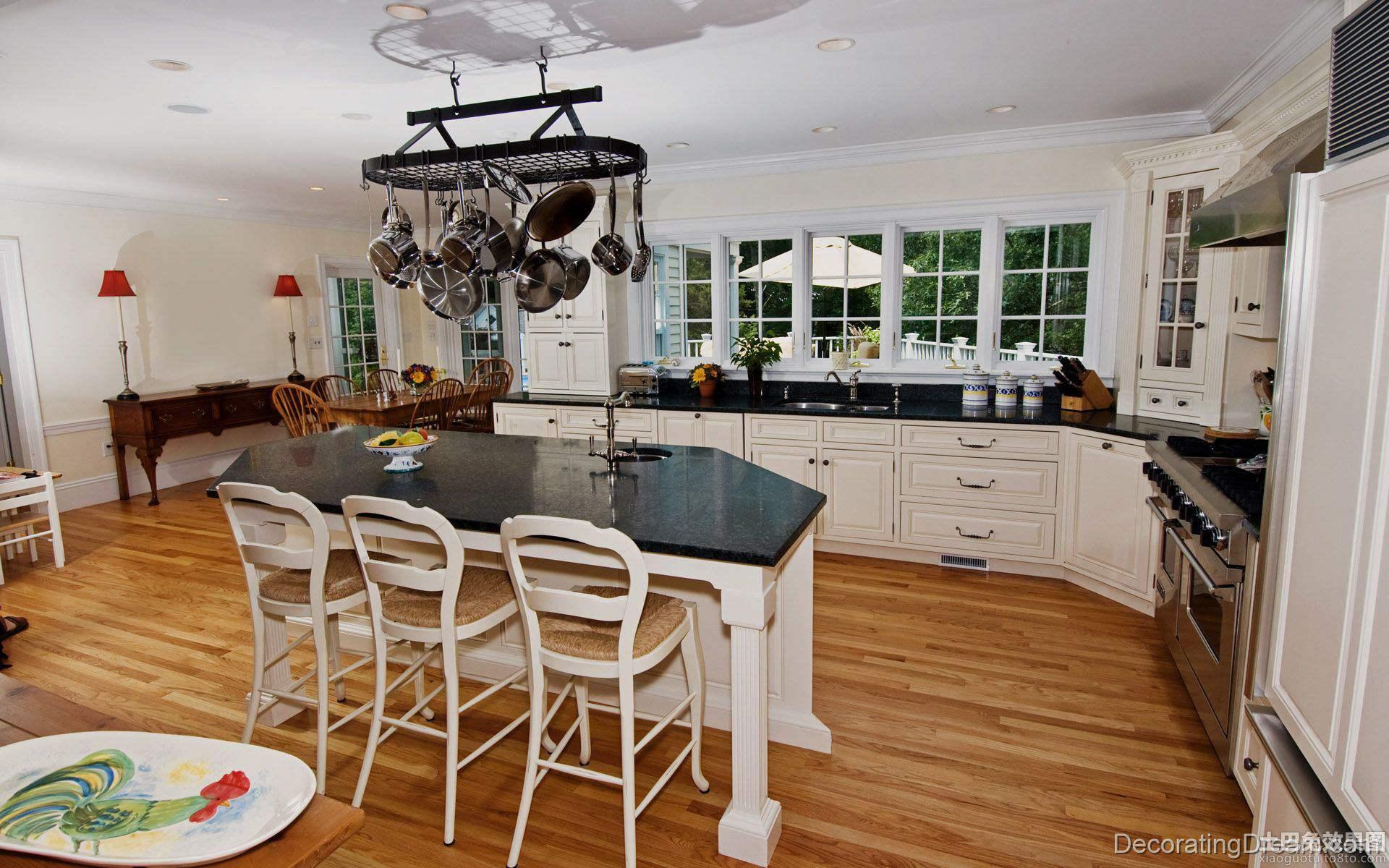 欧式别墅开放式厨房效果图 - 装修效果图 - 九正家居网图片