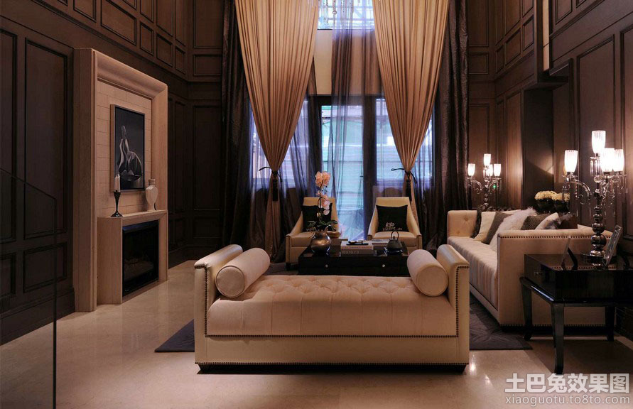 美式客厅窗帘装修效果图片图片